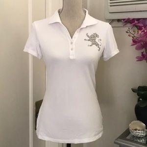 Express white studded polo shirt